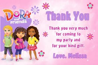 Personalised Dora and Friends Thank You Cards